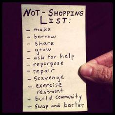 Not-shopping list