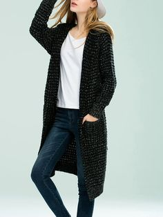 Shop Cardigans - Deep Gray Casual Plain Wool Blend Cardigan online. Discover unique designers fashion at StyleWe.com.