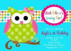 This is going to be Jaylin's 1st Bday theme!! Owl Birthday Invitation Pink and Green Owl by CutiesTieDyeBoutique.