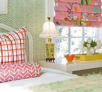 Katie Rosenfeld; loving the mix of patterns and the window treatments.