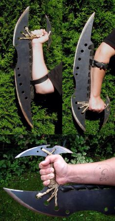 Tonfa blade by Eeppium. Blade that runs along length of forearm. Zombie Weapons, Ninja Weapons, Weapons Guns, Pretty Knives, Cool Knives, Swords And Daggers, Knives And Swords, Cool Swords, Apocalypse Survival