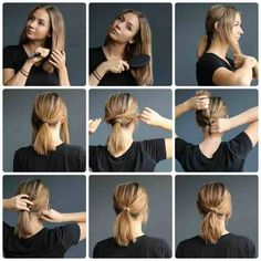 Easy Hairstyles For Short Hair Ponytail Small - ponytail on short hair tutorials — kalisi skandinavia Lob Hairstyle, Diy Hairstyles, Pretty Hairstyles, Short Ponytail Hairstyles, Medium Hair Ponytail, Hairstyle Photos, Ponytail Styles, Hairstyles Videos, School Hairstyles