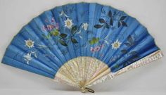 Antique Mother of Pearl Sticks Silk Hand Painted Floral Hand Held Fan   eBay