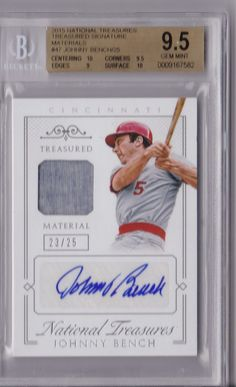 2015 NATIONAL TREASURES JOHNNY BENCH 23/25 BGS 9.5/10 JERSEY AUTO AUTOGRAPH CARD
