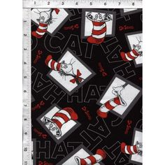 This charming black background Dr. Seuss block pattern featuring The Cat in the Hat, is bound to put a smile on your face! www.americasbestthreads.com