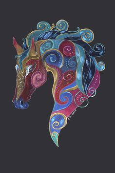 Horse Totem Art Card by Jennifer Hawkyard, Greeting Card Featuring Colourful Horse Art, Blank ins Animal Meanings, Horse Quilt, Horse Cards, Painted Pony, Equine Art, Art Plastique, Custom Art, Cool Art, Mandala