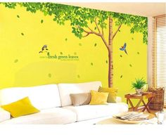 Tree nature wall decals can be applied to any clean, smooth and flat surface. Put them on your walls, doors, windows - anywhere you want! Much faster, cleaner a