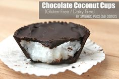 Chocolate Coconut Cups {Gluten and Dairy Free}    8-9 oz of dark chocolate  1/2 cup coconut oil  1/4 cup dry unsweetened coconut flakes  1 tsp coconut extract  1 tbsp sugar (optional)  Raw almonds (optional)