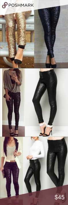 XX BROOKLYN sequin leggings- BLACK Super fun & which girl isn't head over heels in love with sequins? Perfect for the holidays, NYE, a hot date or girls night out!                         LAST PAIR!!! Pants Leggings