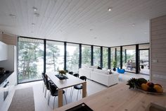 Straight lined architecture together with the wood as building material create a perfect combination to make the house and design match with the nature. This summer villa, located in Finland, is designed by Haroma & Partners architects. Large patio and terrace areas continue the base of the house structure to meet perfectly with the environmental shapes. Same time the large roofed parts of the terrace multiply the applicable terrace space even not on such a good weather or if you feel…