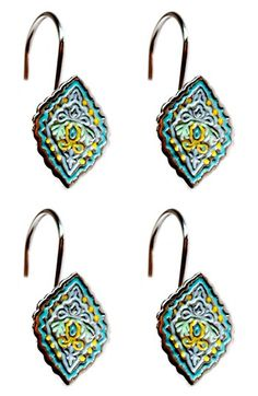 Free shipping and returns on Dena Home Diamond Shower Curtain Hooks (Set of 12) at Nordstrom.com. Ornate motifs painted with blues and yellows decorate a set of twelve shower curtain hooks.