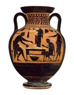Two-handled Greek jar (amphora) | Museum of Fine Arts, Boston. Shoemaker's shop. A young woman is being fitted for a new pair of sandals. CLICK to enlarge
