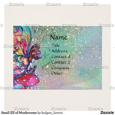 Small Elf of Mushrooms Business Card  #fairy #floral #swirls #watercolor #nature #beauty