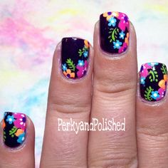 black with neon floral Nail Pornography : Photo