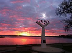 Sunrise over the Olympic Rings at Lake Wendouree, the Olympic rowing course for the 1956 Melbourne Olympic Games, in Ballarat, Victoria  Submitted by: Rob Gazzard's   24/07/2012