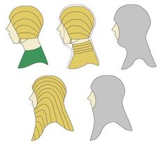 Styles of gamboised arming garments for the head and neck. Thirteenth Century.