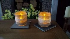 Tea light candle holders made with burlap & ribbons