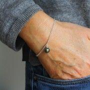 Bracelet Promesse avec deux chainettes en argent et une perle de Tahiti ronde