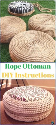 DIY Rope Tire Ottoman Instructions - DIY Old Tire Furniture Ideas