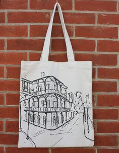 b0b45dd695 New Orleans Art Canvas Tote Bag with Pocket