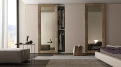 Sliding mirror closet doors for bedrooms - Mirrored closet sliding doors can help make your room look larger and is a unique element in your home decor. Sliding Door Wardrobe Designs, Sliding Door Design, Modern Sliding Doors, Closet Designs, Mirror Closet Doors, Bedroom Doors, Mirror Door, Bedroom Furniture, Furniture Design