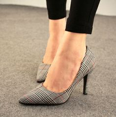 2014 spring summer new women's OL elegance plaid shoes thin heels pointed pumps size 35-39 high-heeled mixed PU leather 5 $99.98