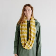 Hilary Grant Knitwear   Circle Scarf Sanna Mustard   Gifts for her