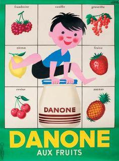 yaourts - Danone aux fruits - 1957 - illustration de Hervé Morvan -