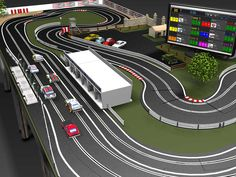 Layout example for J-Trak, a modular table system for portable slot tracks using the Scalextric Sport and Digital track systems. Ho Slot Cars, Slot Car Racing, Slot Car Tracks, Scalextric Track, Tracking System, Circuits, Courses, Layouts, Dreams