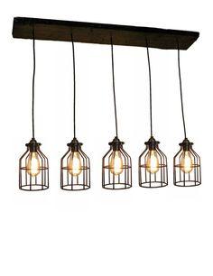 5 Cage Pendant Reclaimed Wood Chandelier Pendant light Urban Chandelier Rustic lighting Modern Dining chandelier wedding Edison Bulb Ceiling