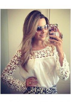 New Women Clothing Lace Blouse Blusas Femininas 2016 Camisas Blusinha Roupas Blusa Renda Guipir Mujer Encaje Tops Female Shirts White Lace Blouse, Chiffon Shirt, Lace Chiffon, White Chiffon, Chiffon Fabric, Plus Size Blouses, Lace Sleeves, White Long Sleeve, Blouses For Women
