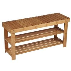 Household Essentials Bamboo Storage Bench Seat is a open bench seat with 2 storage shelves underneath. The slats in the bamboo seat fun front to back on the bench. The slats in the shelves run side to side. It is a simple, straightforward bench: Storage Bench Seating, Entryway Bench Storage, Bench With Shoe Storage, Patio Seating, Storage Shelves, Drawer Storage, Storage Ideas, Slatted Shelves, Shoe Bench