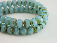Aqua Blue Opal Picasso finish fire polished Czech glass beads by Sparkling Sisters Jewelry Supplies on Etsy, $9.95