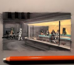 23 parodies de Nighthawks d'Edward Hopper | Hopperesque ... |Nighthawks Star Wars