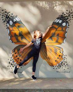Butterfly Wings Mural by Art by Andrea Ehrhardt at Laerskool Koedoeskop Murals Street Art, Graffiti Wall Art, 3d Street Art, Best Street Art, Amazing Street Art, Mural Wall Art, Street Art Graffiti, New York Graffiti, Graffiti Lettering