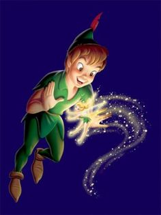 Peter Pan look at how 3D he looks also note the what the glow from Tinker Bell does to him.