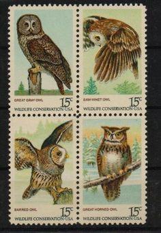 Owl postage stamps, USA.