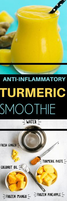 This Anti-inflammatory Turmeric Smoothie is perfect for your anti-inflammatory diet! Easy and healthy smoothie recipe that's great for a snack or breakfast shake. so good with mango, pineapple, and fresh ginger as well!