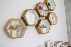 Perfectly suited for any room in the house, these Honeycomb shelves are big enough to store a wide variety of toys, books, and lots more. Theyre sturdy enough to survive some serious abuse. And most importantly, the non-toxic finishes we use on all of our products provide peace of mind for the Eco-conscious home owner. This listing is for a set of 3 hexagons shelves, 1 of them having an interior shelf installed. If youd like a different quantity, wed be happy to create the set for you…