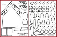 Printable Gingerbread House Craft - Keeping Life Creative Use this FREE printable template to build your own {sugar free} gingerbread house craft. Cardboard Gingerbread House, Halloween Gingerbread House, Gingerbread House Patterns, Cool Gingerbread Houses, Gingerbread Crafts, Gingerbread Decorations, Gingerbread Cookies, Preschool Christmas, Christmas Crafts For Kids