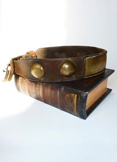 0d784df702f71 Antique Leather and Brass Dog Collar  Pat  by MaisonDogLondon