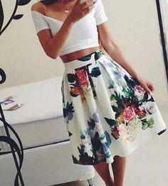 crop top + floral skirt