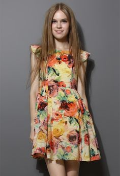 Blooming Retro Floral Painting Dress