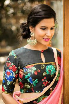 Buy House Of Blouse Black floral blouse with yoke detailing online in India at best price. Black, boat neck, and beauty - 3 Bs that makes this blouse a quintessential item this season. The mi Sari Blouse Designs, Saree Blouse Patterns, Pattern Of Blouse, Choli Designs, Latest Saree Blouse, House Of Blouse, Winter Typ, Stylish Blouse Design, Blouse Models