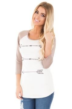 Lime Lush Boutique - Taupe and Ivory Horizontal Arrow 3/4 Sleeve Top, $32.99 (http://www.limelush.com/taupe-and-ivory-horizontal-arrow-3-4-sleeve-top/) #fashionblog #instafashion #photomodel #beauty #trend #queen #day #us #follow #girl #dress #princess #look #lookbook #like #beautiful #cute #sexy #iphonesia