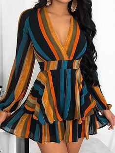 Multi Color Stripes Layered Ruffles Mini Dress We Miss Moda is a leading Women's Clothing Store. Casual Dresses For Women, Short Dresses, Girls Dresses, Summer Dresses, Clothes For Women, Dress Casual, Elegant Dresses, Sexy Dresses, Casual Outfits