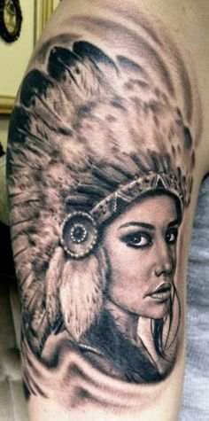 Beautiful native american girl tattoo by Hexa Salmela