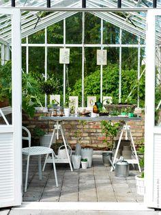 Sommarens skönaste arbetsplats! Benbockarna VIKA ARTUR och rostfria skivan VIKA HYTTAN blir arbetsbänk i växthuset.
