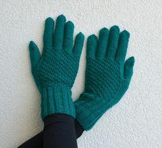 Pletené rukavičky Smaragd