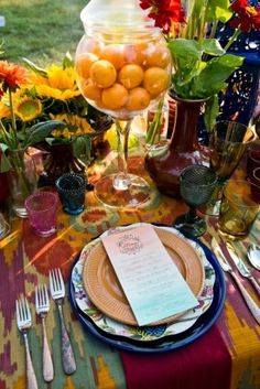 unique bright flatware table setting geoff chesman visuals Bohemian Wedding Ideas